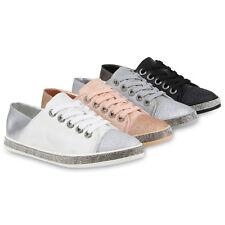Damen Sneaker Low Strass Glitzer Schuhe Turnschuhe Sport Schnürer 820813 Schuhe