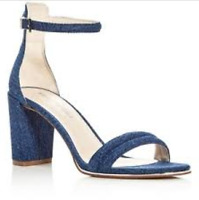 $130 size 7.5 Kenneth Cole Lex Blue Denim Heels Ankle Strap Sandals Womens Shoes