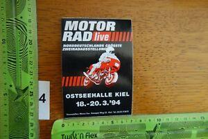 Alter Aufkleber Motorrad Motorsport Messe OSTSEEHALLE KIEL 1994