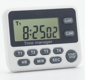 Home Lab Electronic Digital Timer 4 Channel 99 hr Clock Cooking Time Manager
