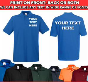 Personalised POLO SHIRT Mens Work Wear Sport Team Uniform Party Customised TEXT