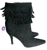 STUART WEITZMAN  'Fringe Time' SLIM HIGH HEEL FRINGE ANKLE BOOTS SIZE UK 5