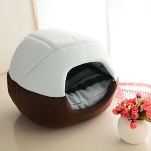 Cat Dog Bed House Pet Cave Kennel Cushion Sleeping Mat Pad Nest Blanket Foldable