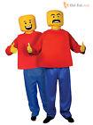 Adult Mr Block Head Man Costume 80s Lego Retro Mascot Fancy Dress Mens Outfit