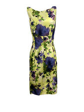 New With Tags Nine West Women's Yellow Multicolor Floral Dress Size 12 MSRP $99