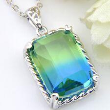 Woman London Blue BI-COLORED Tourmaline Gems Silver Necklace Pendant With Chain