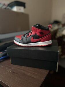 🌲 Jordan 1 Mid TD Banned 10C Gym Red Toddler Shoe 🔥