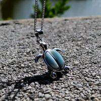 925 Sterling Silver Natural Larimar Gemstone Sea Turtle Women Necklace Pendant