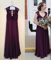 MORI LEE - Eggplant Lace/Chiffon Bridesmaid Dress V-Neckline Cap Sleeves
