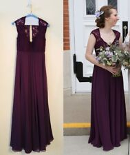 068dfd99e0935 MORI LEE - Eggplant Lace/Chiffon Bridesmaid Dress V-Neckline Cap Sleeves