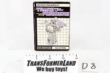 Galvatron Instructions Leaders 1986 Vintage Hasbro G1 Transformers Action Figure