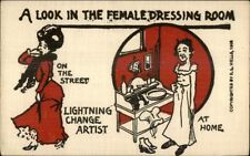Female Dressing Room - On the Street/At Home Comparison c1910 Postcard