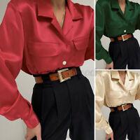Size UK Womens Work Shirt Silky Satin Blouse Office Ladies Long Sleeve Tops 8-26