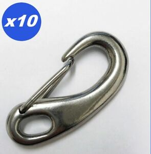 Gate Spring Clip Snap Hook 316 Stainless Steel 50mm Boat Yacht Lobster Claw 10pc