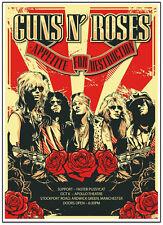Guns N' Roses Appetite For Destruction Tour 1987 Manchester UK Concert Poster