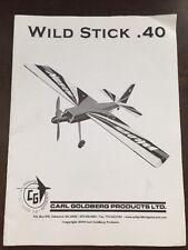 Wild Stick .40 Carl Goldberg RC Plane Instructions Manual Only