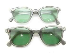 SET of 2 AMERICAN OPTICAL AO SAFETY HORN-RIMMED GLASSES green plastic aos S651