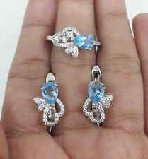 AMAZING NATURAL SWISS TOPAZ WHITE CZ -STERLING 925 SILVER RING EARRING SET