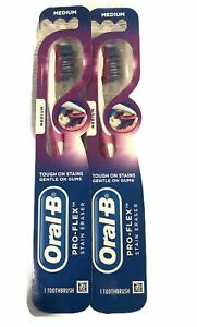 Oral-B Pro Flex Stain Eraser Medium Bristles Toothbrush 2 pack SHIPS FAST