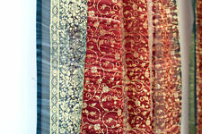 Sienna RED & BLUE Sari curtain, semisheer panel, India, handmade, blockprint 64""