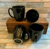 VTG Corning Corelle (Set of 4) Stoneware Jet Black 12 oz Coffee Tea Mug Cup