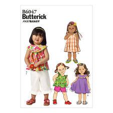 BUTTERICK rapide facile tout-petits Couture Motif 6047 top robe short pantalon | 1-4