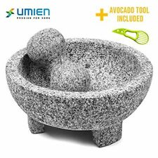 Large UMIEN Granite Mortar and Pestle Stone Bowl Spice Crusher Grey Color