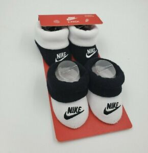 2 Pair Nike Baby Booties, Size 0-6 Months, Black, White, Shower Gift, B8