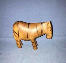 Vintage Hand Carved Wooden Zebra Horse Figure African Art