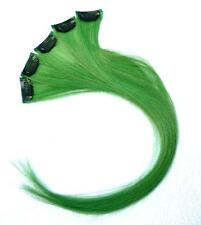 "Green- 18""long Human Hair Clip In Extensions for Highlights"