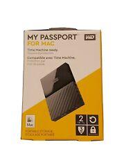 NEW WD 2TB Black My Passport for Mac Portable External Hard Drive USB 3.0
