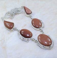 "Handmade Sun Sitara Goldstone Jasper 925 Sterling Silver Necklace 19"" AA993"
