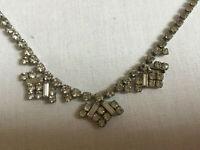 VINTAGE Sparkling Clear Rhinestone Diamante Necklace Geometric Drop #1