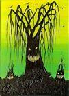 ACEO Original Acrylic Creepy Whimsical Trees Halloween Spooky Eerie Art HYMES