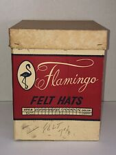 Vintage Flamingo Felt Hats Cardboard Storage Box Empty With Lid Script Nmfc Usa