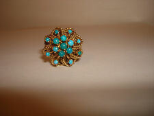 Vintage Unique 18kt Yellow Gold Persian Turquoise Stones Ornate Dome Ring 6.25