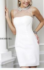 SHERRI HILL 21291 WHITE FITTED DRESS SZ 2 CRYSTAL COLLAR COCKTAIL HOMECOMING