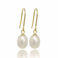 9ct Gold White Freshwater Pearl Fish Hook Earrings