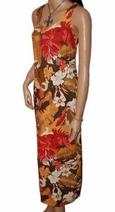C107 - 2pc Brown, Red, Yellow Strap Dress & Short Sleeved Jacket Set - UK 10/12