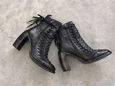 Ann Demeulemeester Black Leather Triple Lace Talon Ankle Boots 39.5 9.5
