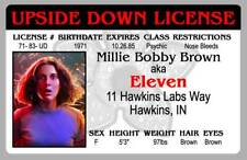 Stranger Things Eleven Millie Bobby Brown Novelty Upside Down License ID Card