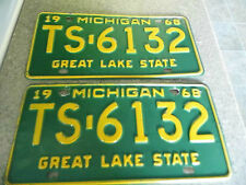 Vintage 1968 Michigan License Plates - TS-6132