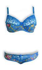 Lingerie : Ensemble bleu motif fleuri , soutien gorge et culotte 120E