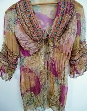 Hale Bob Tunic Blouse Silk Beaded S Front Sleeves Front Tie Boho NWOT $226