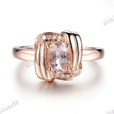 Solid 14K Rose Gold Pave Prong Oval Morganite Natural SI/H Diamonds Fine Ring