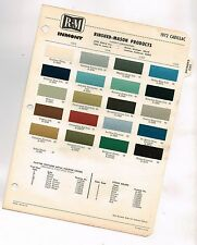 1972 CADILLAC Color Chip Paint Sample Chart Brochure: RM