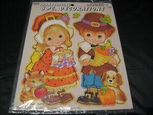 Vintage EUREKA 5pc Thanksgiving Pilgrim Turkey Children Cuttouts Decoration NEW!