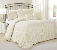 7 Piece Rosales Chic Ruched Ruffled Pleated Comforter Sets- Queen King Cal.King