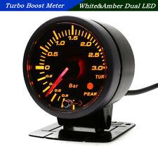 "2.5"" 60mm Car Turbo Boost Gauge 3 Bar White&Amber Dual LED Display+Sensor DC12V"