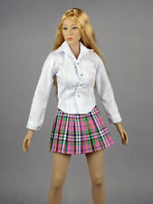 1/6 Scale Phicen, Hot Toys, Kumik & NT Female White Shirt & Pink Plaid Skirt Set